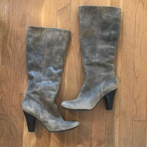 Fossil Tall Heeled Boots Distressed Grey